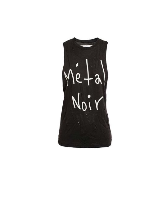 "<p>Get the rebel look with a T-shirt like this from Enfant riches deprimes, available at <a href=""http://www.brownsfashion.com/product/034625710003/042/unisex-metal-noir-motif-distressed-tank"">Browns</a> £100</p>"