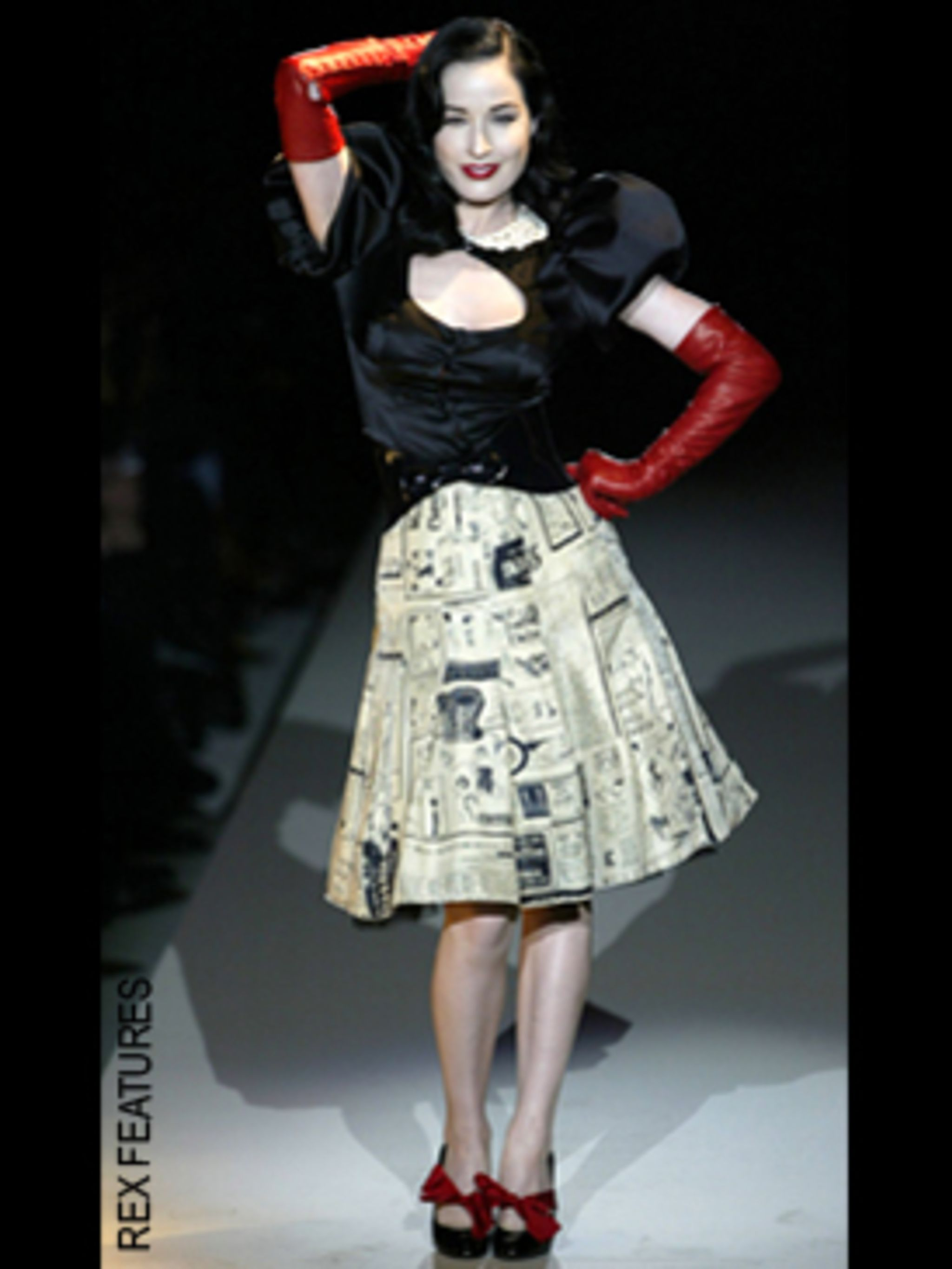 <p>The inspiration for Moschino's cheeky, ladylike designs, Dita even took to the catwalk for the iconic Italian fashion house.</p>