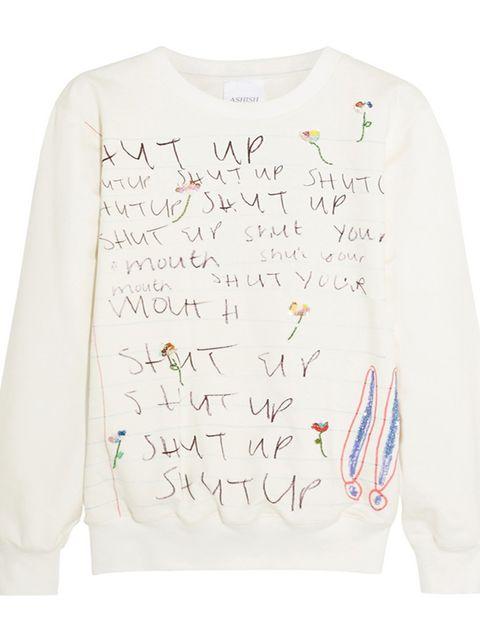 """<p><a href=""""http://www.jaeger.co.uk/jersey-split-back-sweatshirt/681033V-05700-XS.html?cgid=women-tops"""" target=""""_blank"""">£565, Ashish</a></p>"""