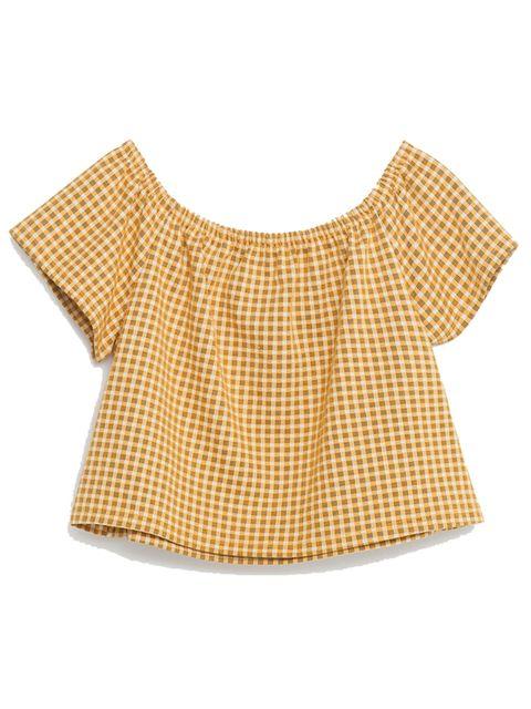 "<p>£12.99, <a href=""http://www.zara.com/uk/en/woman/t-shirts/view-all/off-the-shoulder-top-c719014p3424070.html"" target=""_blank"">Zara</a></p>"