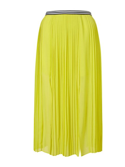 """<p>Bring some sunshine into your life and instantly refresh your wardrobe with this vibrant pleated skirt. Wear it by day with a chunky knit or choose a silk tank and metallic heels for evening… Topshop pleated skirt, £48</p><p><a href=""""http://shopping.el"""