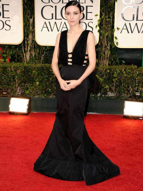 """<p><a href=""""http://www.elleuk.com/star-style/news/the-girl-with-the-givenchy-couture"""">Rooney Mara</a> in <a href=""""http://www.elleuk.com/catwalk/designer-a-z/nina-ricci/spring-summer-2011"""">Nina Ricci</a> with Fred Leighton jewels at the Golden Globes, 15 J"""