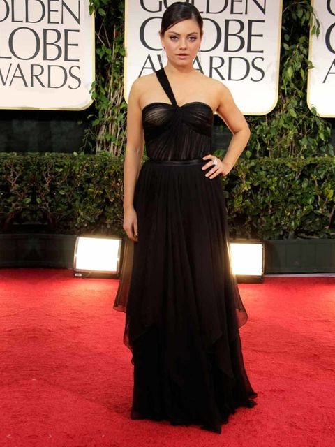"""<p><a href=""""http://www.elleuk.com/star-style/celebrity-style-files/mila-kunis"""">Mila Kunis</a> wearing <a href=""""http://www.elleuk.com/catwalk/designer-a-z/christian-dior/spring-summer-2011"""">Dior</a> in at the Golden Globes, 15 January 2012</p>"""