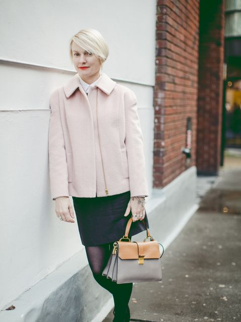 Lorraine Candy – Editor in Chief. Marks & Spencer coat, Paul Smith shirt, Chalayan skirt, Miu Miu bag, Topshop shoes.