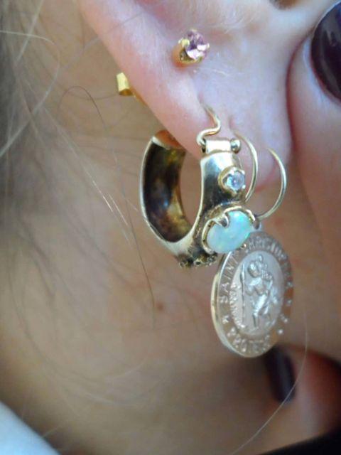 <p>Embellished hoop earrings</p>