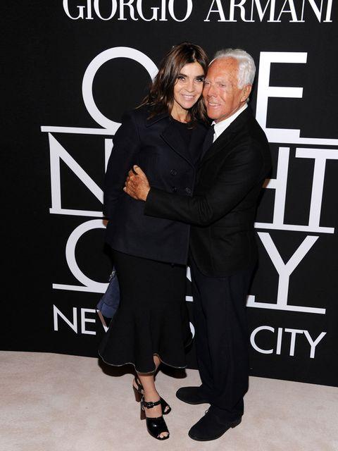 <p>Carine Roitfeld with Giorgio Armani at Giorgio Armani One Night Only NYC, October 2013.</p>