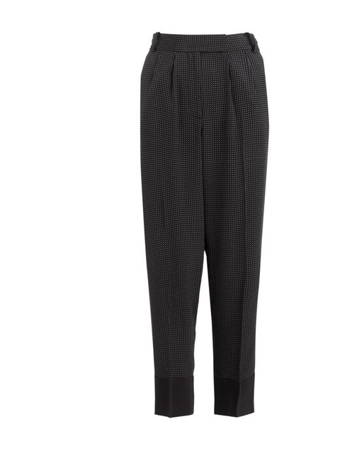 <p>Take your cue from Alexa Chung and team mannish silk trousers with a white shirt and vampish pointed stilettos... Whistles dot print trousers, £85</p>