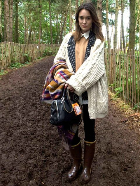 <p>Elizabeth, 23, Model, London. Vintage cardigan, vintage jacket, H&amp;M jumper, vintage shirt, H&amp;M leggings, Havaianas wellies, vintage bag, H&amp;M scarf.</p>