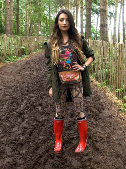 <p>Marni, 23, Fashion Blogger, London. Vintage jacket and t-shirt, River Island leggings, Havaianas wellies, Urban Outfitters bag.</p>