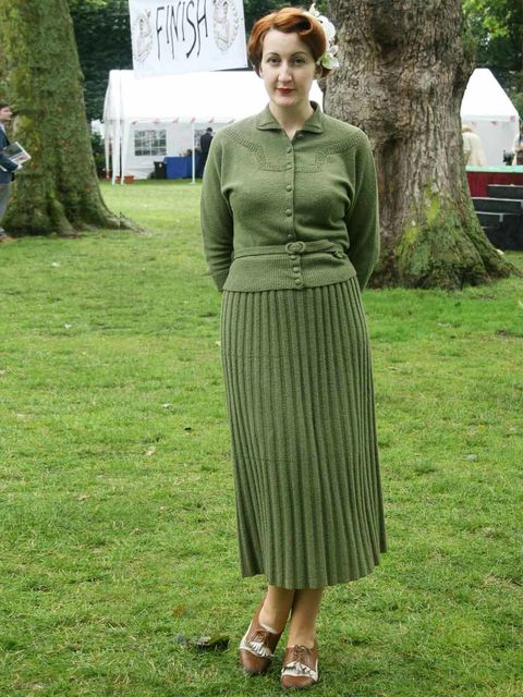 <p>Bethan Garland, 27, Events Manager.Vintage 1940's Etsy dress, What Katie Did stockings.</p>