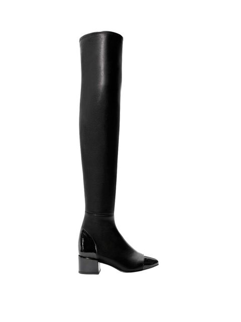 "<p>Thigh high boots, <a href=""http://www.zara.com/uk/en/woman/shoes/boots/xl-leather-boot-with-patent-cap-toe-c269197p2084097.html"">Zara  </a>£99</p>"