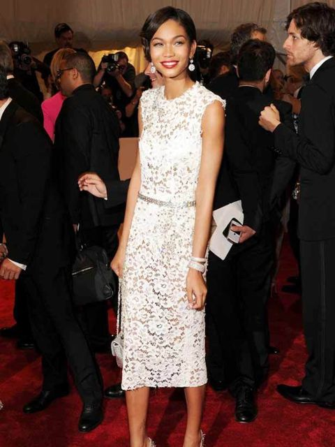 "<p>Chanel Iman wears <a href=""http://www.elleuk.com/catwalk/collections/dolce-gabbana/"">Dolce & Gabbana</a>  <a href=""http://www.elleuk.com/starstyle/celebrity-trends/(section)/everyone-s-wearing-white-lace"">white lace</a> for the MET Ball, 2 May 2011"