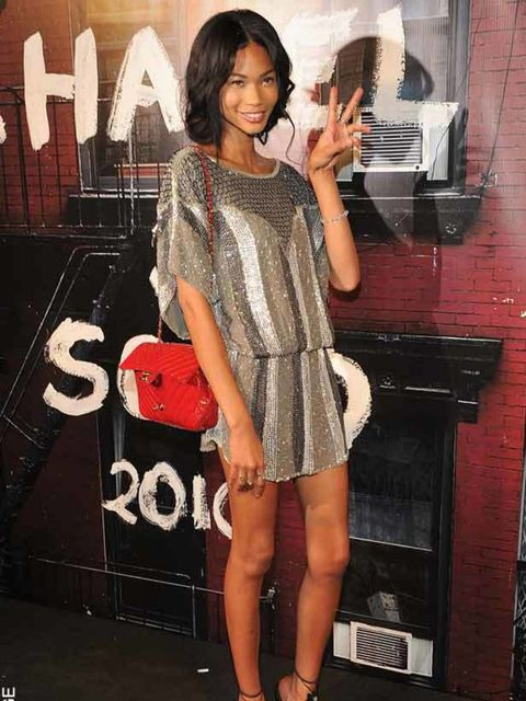 <p>Chanel Iman in an Altuzarra dress for a fashion fund party, NYC. Nov 2010.</p>