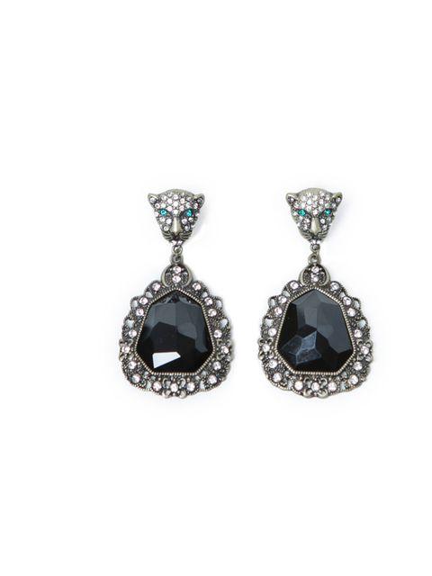"""<p><a href=""""http://www.zara.com/webapp/wcs/stores/servlet/product/uk/en/zara-neu-W2012/271008/976063/GEM%2BENCRUSTED%2BLEOPARD%2BDANGLING%2BEARRINGS"""">Zara</a> leopard head chandelier earrings, £9.99</p>"""
