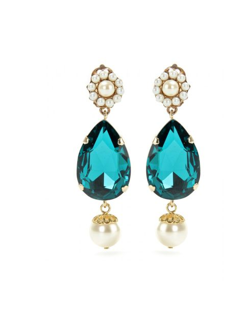 """<p>Dolce & Gabbana crystal and pearl clip-on earrings, £198, at <a href=""""http://www.mytheresa.com/uk_en/crystal-pendant-clip-on-earrings-167946.html"""">Mytheresa</a></p>"""