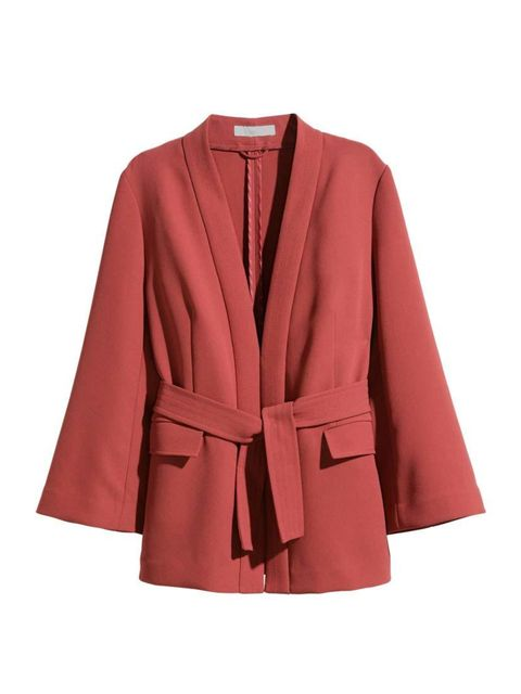 """<p>This season's jacket is nipped in at the waist with a sash - we're calling it the 'judo belt'.</p><p><a href=""""http://www.hm.com/gb/product/89156?article=89156-A"""" target=""""_blank"""">H&M</a> jacket, £39.99</p>"""