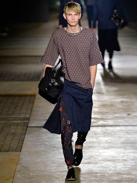 <p>Dries van Noten</p><p>Don't be afraid to clash your patterns, especially if you stick to similar tones. If in doubt a bit of block colour will tie your look together.</p>