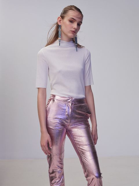 "<p>Make metallic trousers work for daytime by pairing them with a simple white T-shirt and minimal make-up.</p>  <p><a href=""http://www2.hm.com/en_gb/productpage.0355065001.html"" target=""_blank"">Cotton top, £12.99, H&M</a>. Leather trousers, £345, Paul &"