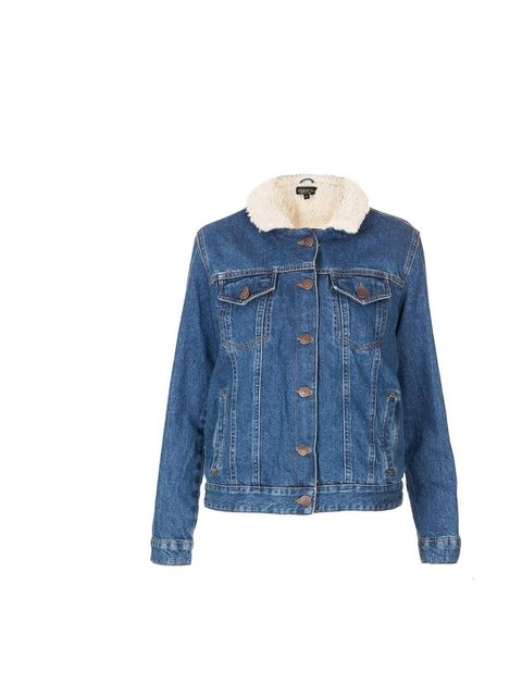 "<p>Fleece lined for optimum snuggliness, this worn-in denim jacket will give your weekend wardrobe a lift. </p><p><a href=""http://www.topshop.com/en/tsuk/product/new-in-this-week-2169932/new-in-this-week-493/tall-moto-vintage-borg-denim-jacket-2437623?bi="