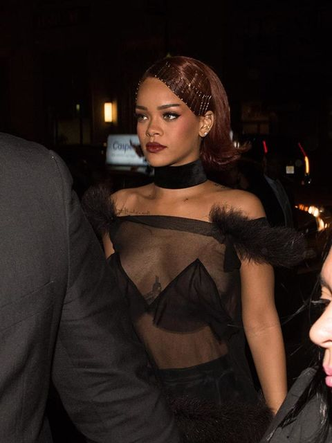<p>Rihanna, wearing Maison Margiela, hosted a private Met Gala after party in New York, May 2015.</p>