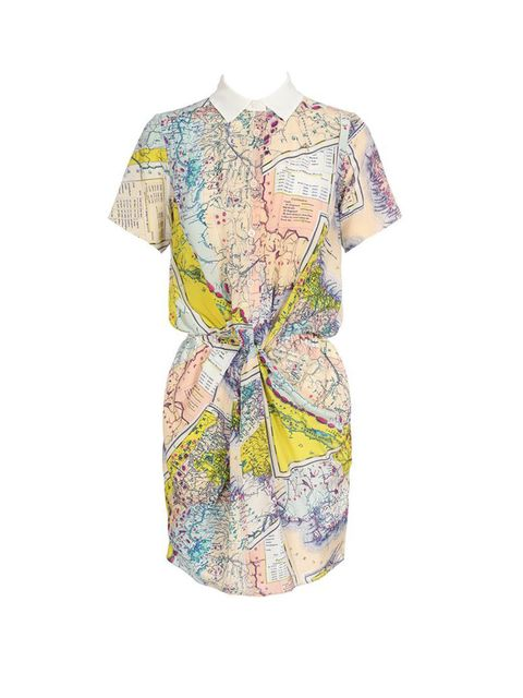 "<p>Carven map printed silk dress, £470, at <a href=""http://www.brownsfashion.com/Product/Map_printed_silk_shirt_dress/Product.aspx?p=3506419"">Browns Fashion</a></p>"
