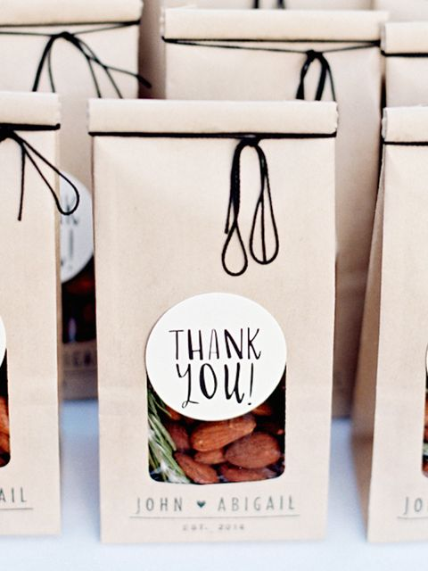 "<p>Forget sugared almonds, here's a cute modern way of giving nuts to your guests - <a href=""http://www.stylemepretty.com/collection/1902/picture/2500869/"" target=""_blank"">Style Me Pretty</a></p>"