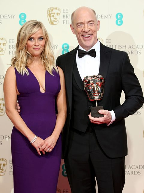 <p>Reese Witherspoon and J.K. Simmons with his BAFTA for Best Supporting Actor for Whiplash.</p>