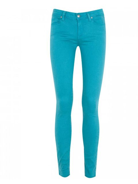 "<p>Paige bright teal jeans, £190, at <a href=""http://www.harveynichols.com/womens/categories-1/designer-trousers/leggings/s387586-verdugo-jeggings.html?colour=TEAL"">Harvey Nichols</a></p>"