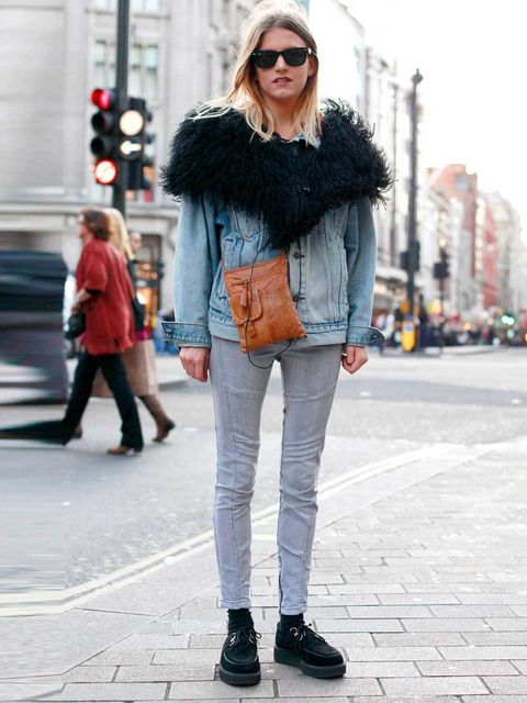<p>Rose, 23, Style PR. Levi's jacket, Topshop stole, Dagmar jeans, Brothel creepers shoes, vintage sunnies.</p>