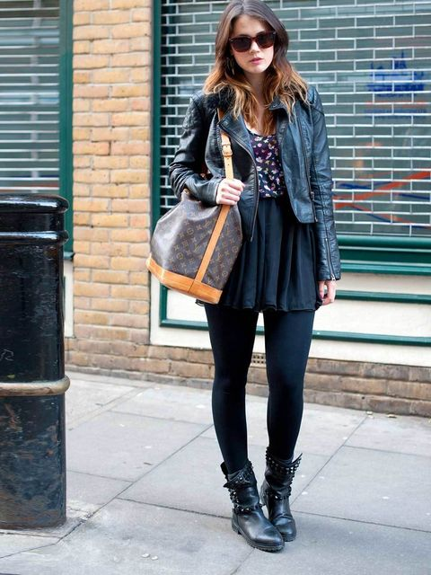 <p>Beila, 20, Make-up Artist. Topshop jacket, American Apparel dress, Zara boots, Louis Vuitton bag, vintage sunglasses.</p>