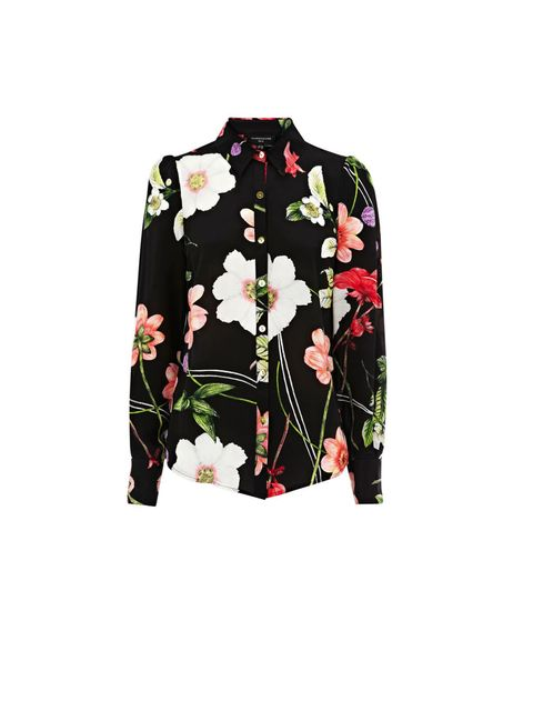 "<p><a href=""http://www.warehouse.co.uk/luminescent-floral-print-shirt/Tops/warehouse/fcp-product/307786"">Warehouse</a> floral print shirt, £55</p>"