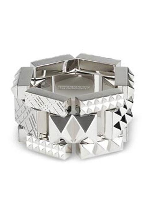 <p>Chunky silver bracelet, £395, by Burberry (0207 806 1303)</p>