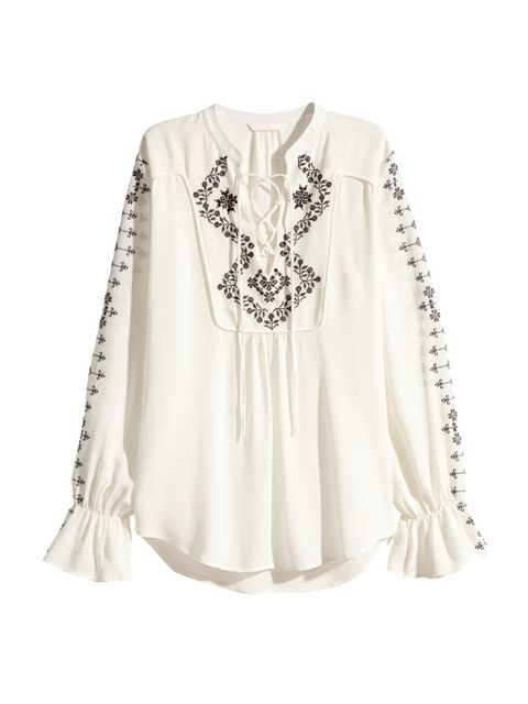 """<p>Culture Director Lena De Casparis will wear this folk inspired blouse with tailored shorts - serious Riviera vibes.</p>  <p></p>  <p><a href=""""http://www.hm.com/gb/product/31902?article=31902-A"""" target=""""_blank"""">H&M</a> Blouse, £29.99</p>"""