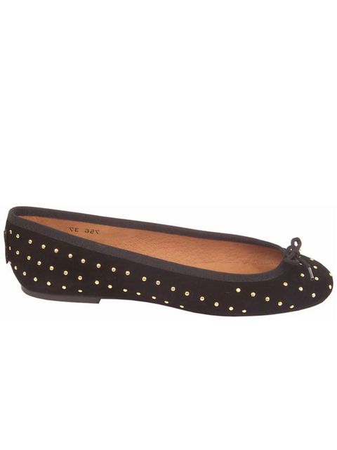 <p>Studded ballet pumps, £115, by Russell &amp; Bromley (stockists: 0207 629 6903)</p>