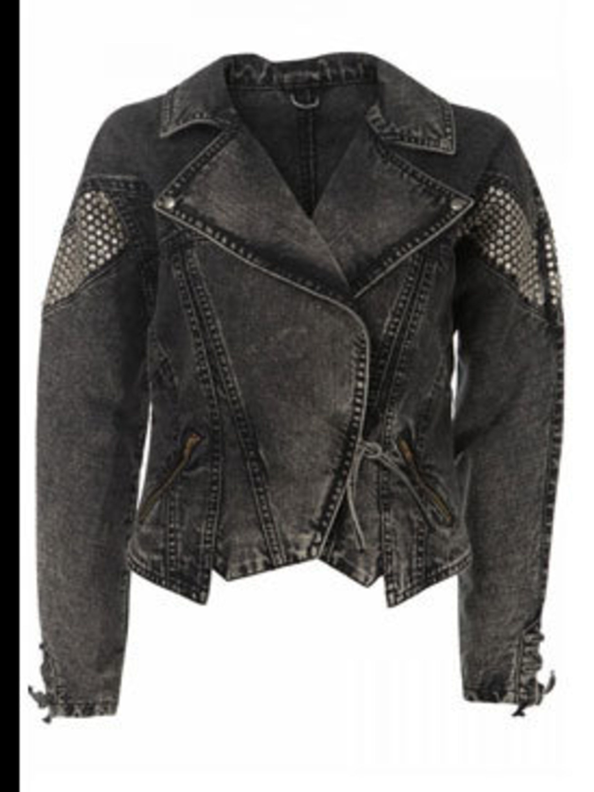 <p>Black denim biker jacket with silver studs, £60, by Topshop  (0845 121 4519) </p>