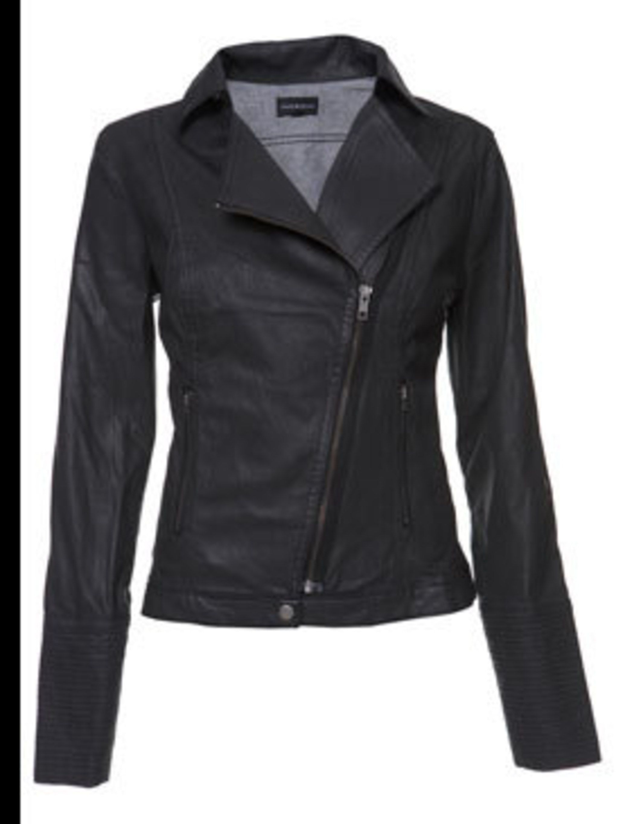 <p>Black leather biker jacket, £150, by Warehouse (08701 228813)</p>