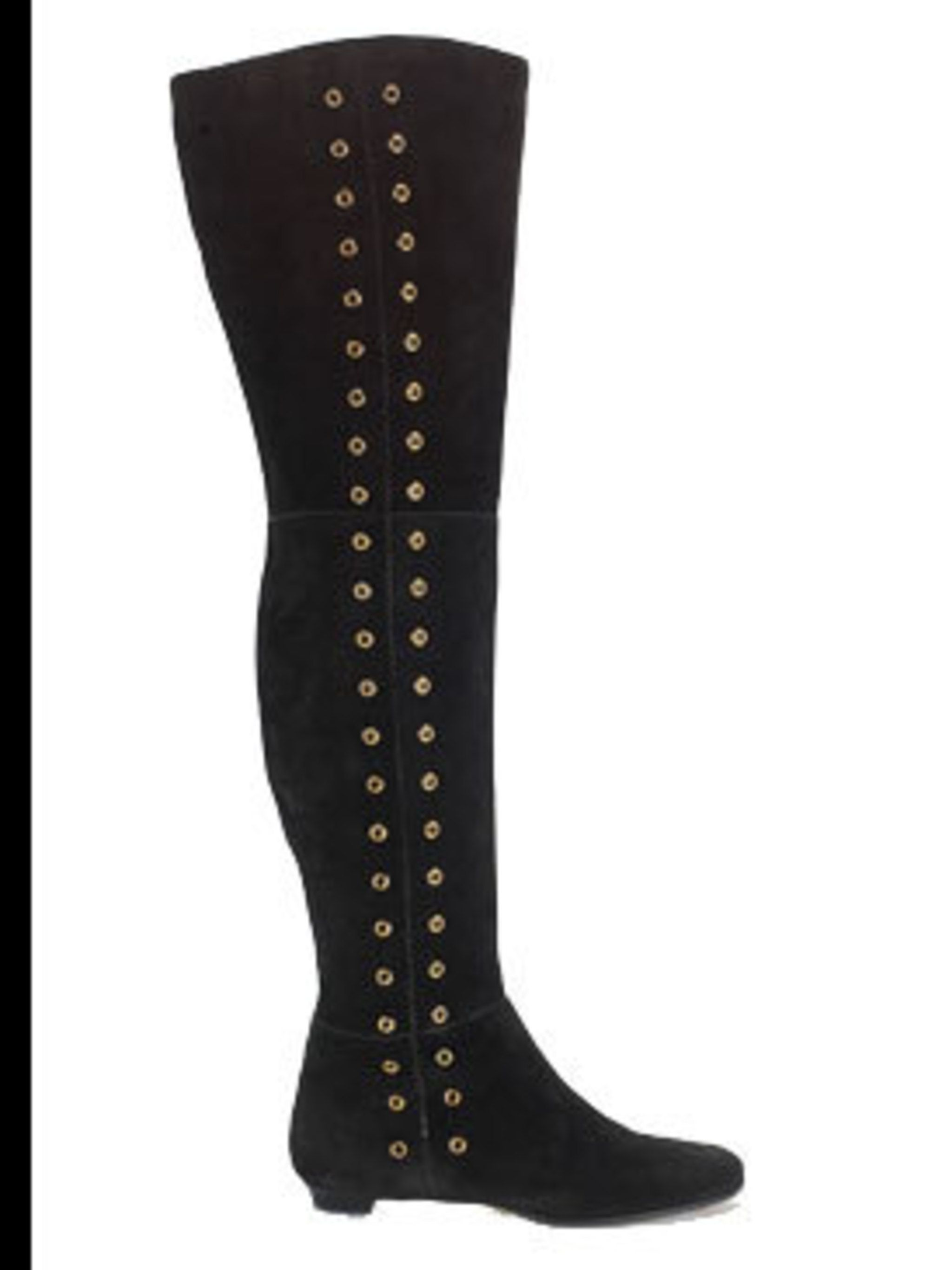 <p>Black studded over the knee boots, £895, by Jimmy Choo (020 7823 1051)</p>