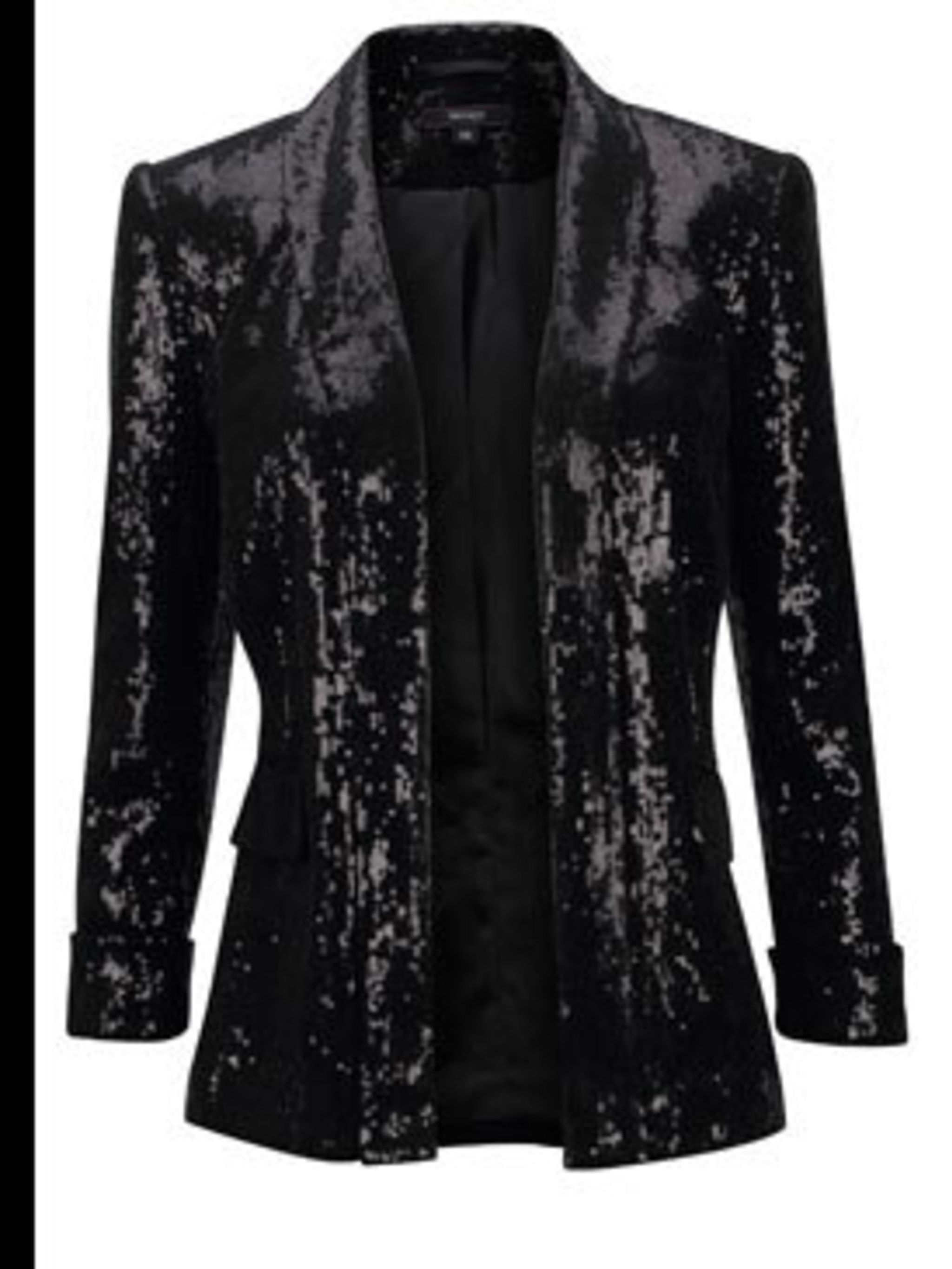 <p>Black sequin blazer, £60, by Therapy (0207 003 4000)</p>