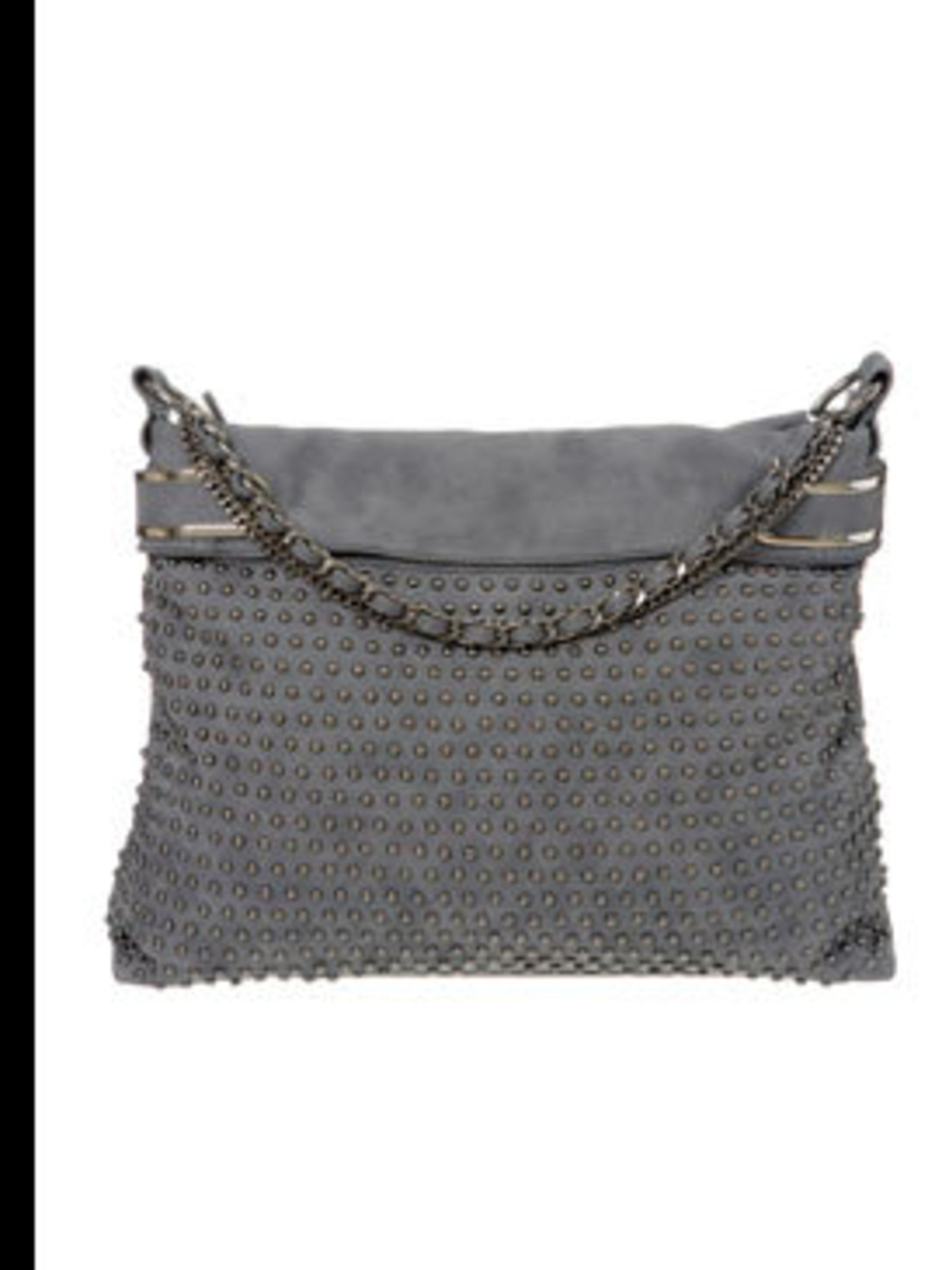 <p>Grey studded bag, £40, by Wallis (<a> 0845 121 4520)</a></p>