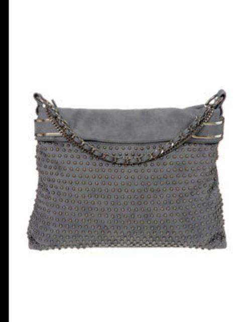 <p>Grey studded bag, £40, by Wallis (<a> 0845 121 4520)</a></p>