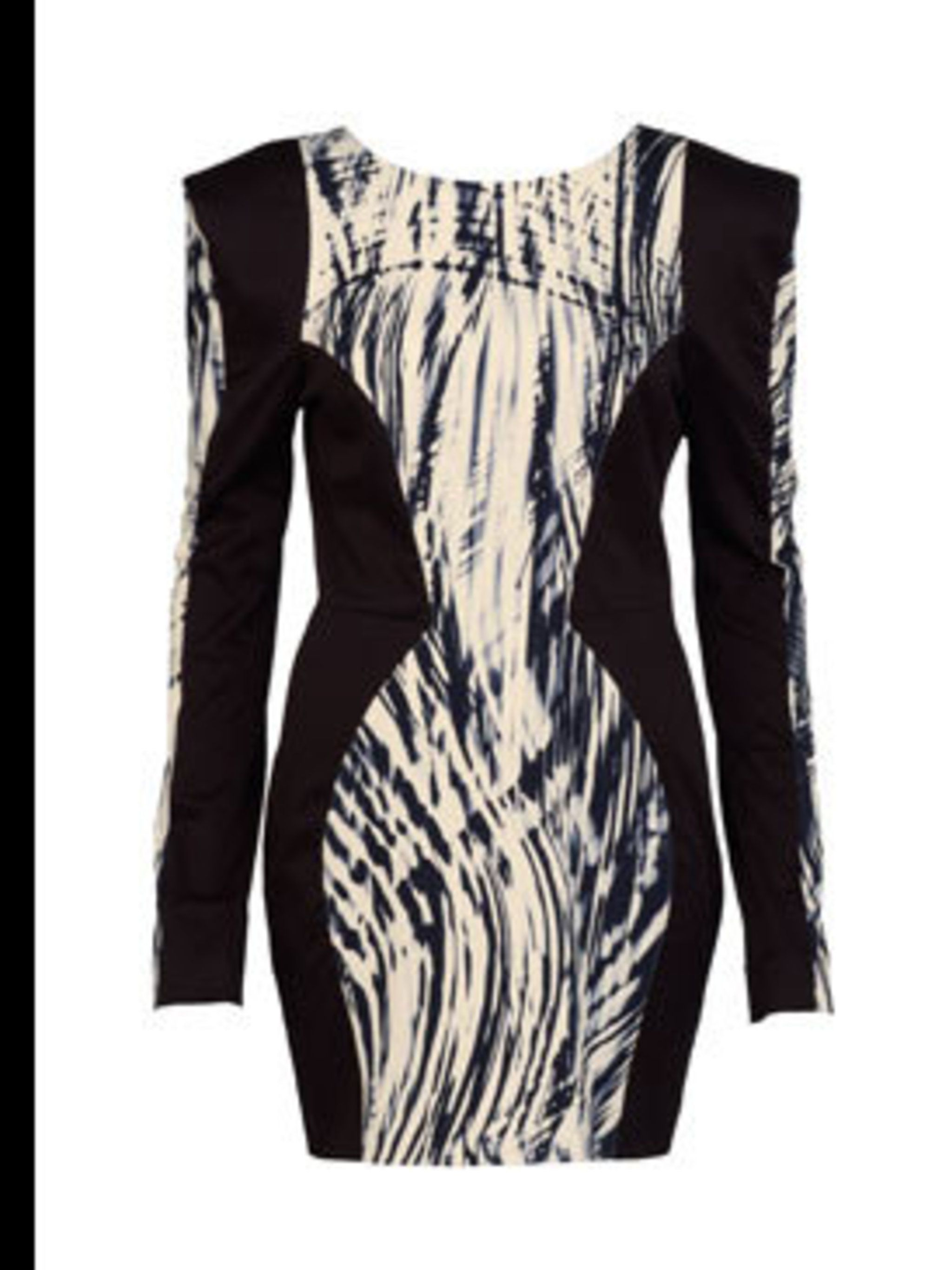 <p>Black and white laser print dress, £49.99, by River Island (0208 991 4904)</p>