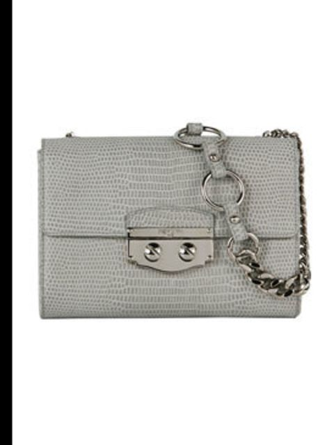 "<p> </p><p>'Le Sixieme' light grey suede lizard print bag, £980, by <a href=""www.ysl.com"">Yves Saint Laurent</a> </p>"