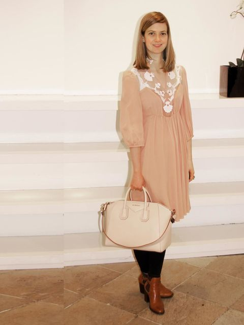 "<p>Nicola Copping, <a href=""http://www.harrods.com/"">Harrods.com</a> Content Editor</p><p>Temperley London pink dress</p><p>Givenchy Antigona bag</p><p>Kurt Geiger ankle boots</p>"