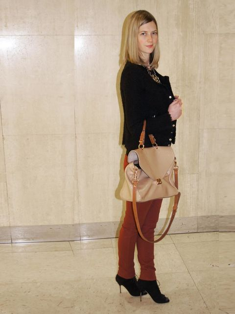 "<p>Nicola Copping, <a href=""http://www.harrods.com/"">Harrods.com</a> Content Editor</p><p>J Brand cranberry jeans (Harrods.com exclusive)</p><p>Iro black jacket</p><p>Nicole Farhi ankle boots</p><p>Mulberry bag</p>"
