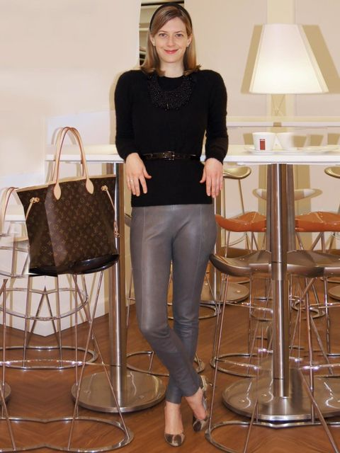 "<p>Nicola Copping, <a href=""http://www.harrods.com/"">Harrods.com</a> Content Editor</p><p>Marks &amp&#x3B; Spencer leather trousers</p><p>Jason Wu for TSE cashmere jumper</p><p>Derek Lam belt</p><p>LK Bennett snake print pumps</p><p>Louis Vuitton tote bag</p>"