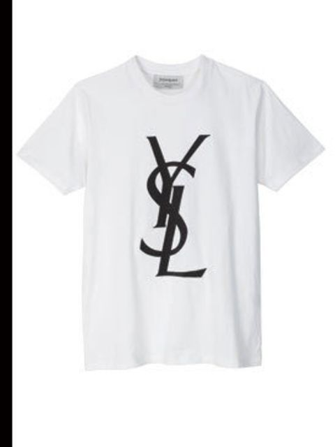 "<p>White logo t-shirt, £142, by <a href=""www.ysl.com"">YSL</a></p>"
