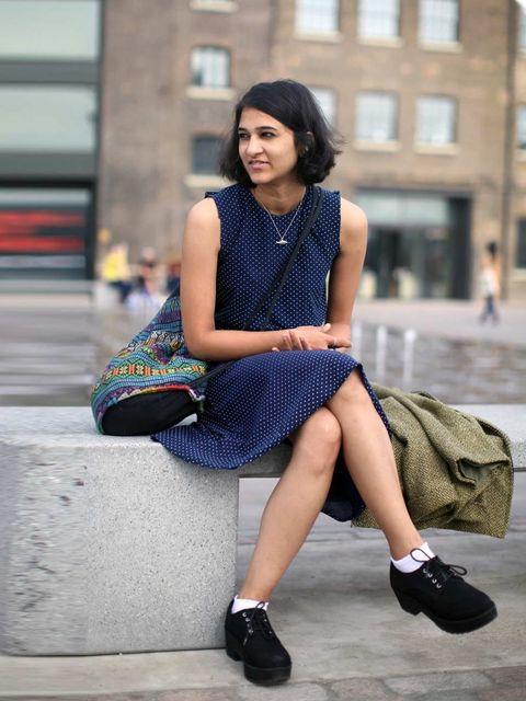 <p>Katya, Vintage dress, jacket & bag, Earrings from India, Topshop shoes</p>