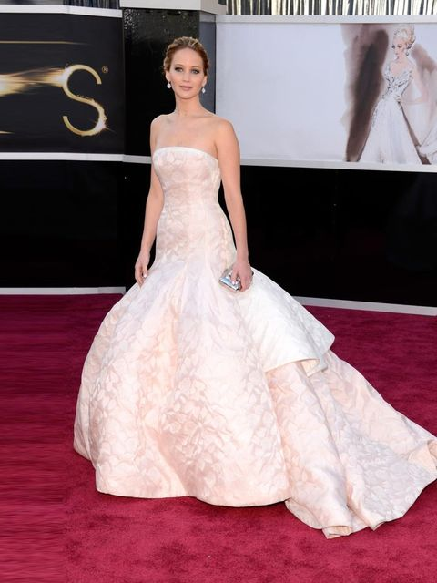"""<p><a href=""""http://www.elleuk.com/beauty/news/jennifer-lawrence-dyes-hair-black-after-oscars-win"""">Jennifer Lawrence</a> in <a href=""""http://www.elleuk.com/catwalk/designer-a-z/christian-dior/couture-ss-2013"""">Dior</a></p>"""