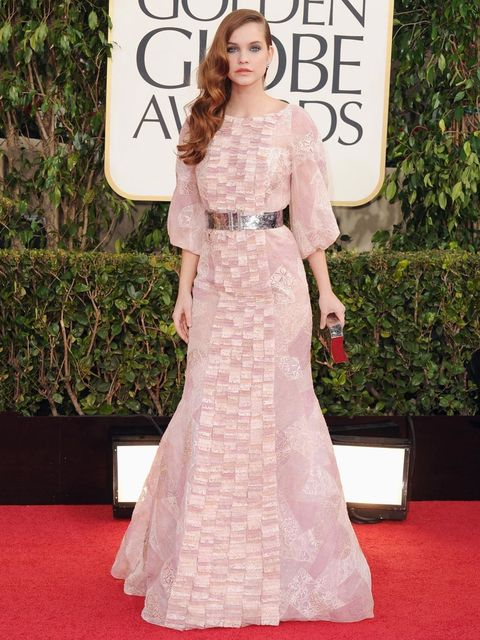 """<p>ELLE's model of the moment, Barbara Palvin looks stunning in <a href=""""http://www.elleuk.com/catwalk/designer-a-z/chanel/couture-aw-2012"""">Chanel Couture</a> at the Golden Globes awards, 2013.</p>"""