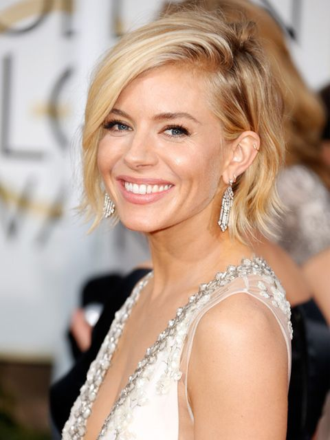 "<p>A constant source of hair inspiration, we love <a href=""http://www.elleuk.com/fashion/celebrity-style/golden-globes-2015-red-carpet-dresses"">Sienna Miller</a>'s textured, wavy bob and steep side parting.</p>"